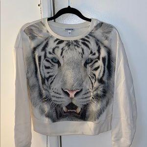 Express cropped graphic sweatshirt